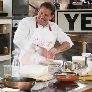 TV Chef Matt Tebbutt in the Crabfest kitchen